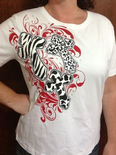 Shirt with three animal print crosses by TheresasCreationsBq, $21.95
