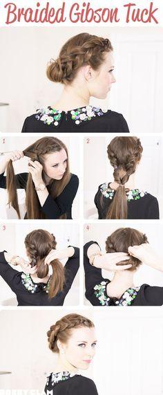 DIY Braided Gibson Tuck diy easy diy diy beauty diy hair diy fashion beauty diy diy bun diy style diy hair style diy updo