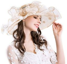 24797fcd Jinsen Women's Kentucky Derby Church Sun Hat Tea Party Wedding Floral  Organza Summer Gauze Hats Wide Brim (12beige) at Amazon Women's Clothing  store: