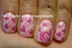 Hearts and stripes nail polish