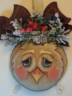 Owl Kitchen Strainer ePattern - Kathleen Whiton - PDF DOWNLOAD #PaintingPattern #paintedstrainer Tole Decorative Paintings, Tole Painting Patterns, Christmas Projects, Holiday Crafts, Christmas Time, Xmas, Spoon Ornaments, Hand Painted Ornaments, Light Bulb Crafts