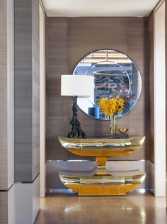CONSOLE TABLE IDEAS    a artsy furniture piece for an unique entryway    www.bocadolobo.com #consoletableideas #modernconsole