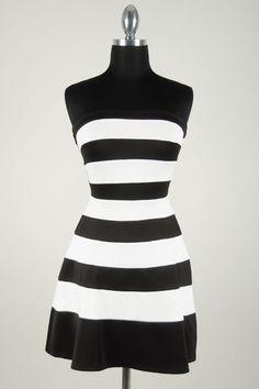 Hampton's Strapless Dress - Black + White