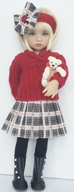 SWEATER,SKIRT,BEAR&BOOTS SET MADE FOR EFFNER LITTLE DARLING DOLLS