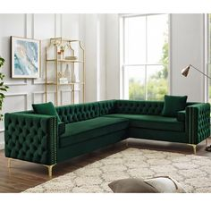 Inspired Home Green Corner Sectional Sofa Design: Giovanni Right Facing Velvet Storage Metal Legs Tufted Design Furniture, Corner Sectional Sofa, Living Room Furniture, Sofa Design, Home Decor, Living Room Furniture Layout, Room Decor, Room Furniture, Furniture Layout