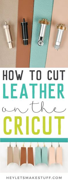 Take the guesswork out of cutting leather on your Cricut! I'm showing the best way to cut four types of leather from using you Cricut Explore and Maker. Know which machine, blade, mat, and material settings to use so your leather project turns out r Cricut Air 2, Cricut Mat, Cricut Craft Room, Cricut Vinyl, Cricut Help, Cricut Blades, Diy Leather Earrings, Leather Jewelry Making, Diy Jewelry