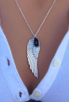 Black Swan - White Angel Wing Sterling Silver Necklace.