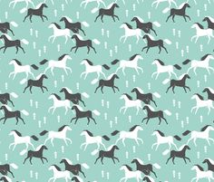 Western Horses - Pale Turquoise by Andrea Lauren fabric by andrea_lauren on Spoonflower - custom fabric