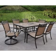 Outdoor Coral Coast Wimberley Deluxe Padded Sling 7 Piece Patio Dining Set    ALH1996 | Products, Patio Dining Sets And Patio Dining