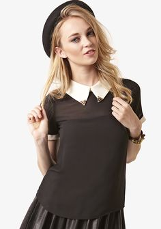 Black Tiger Tipped Contrast Colour Blouse Black Tigers, Contrast, Colour, Blouse, Clothes, Tops, Dresses, Women, Style