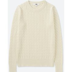 UNIQLO Women's Cotton Cashmere Cable Crewneck Sweater (1,020 PHP) via Polyvore featuring tops, sweaters, cable sweater, chunky cable sweater, cable knit crew neck sweater, cotton cashmere sweater and crewneck sweaters