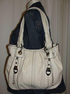 B. Makowsky Light Beige Pebble Leather Zip Pocket Handbag Shoulder Bag Purse #BMakowsky #ShoulderBag