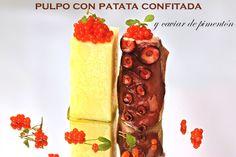 Pulpo con patata cpnfitada y caviar de pimentón