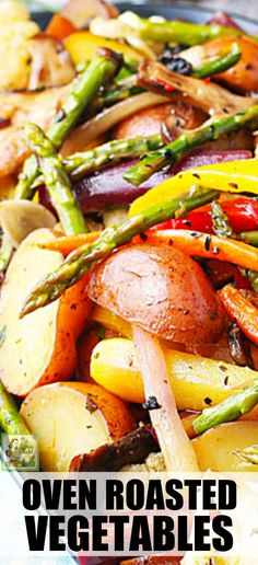 Make Oven Roasted Vegetables as a tasty side dish recipe for dinner. Use your favorite vegetables. Toss with herbs, olive oil, salt, and pepper. Super easy and vegan! Roasted Veggies Recipe, Roasted Vegetable Recipes, Vegetable Dishes, Roasted Vegetables In Oven, Kitchen Recipes, Cooking Recipes, Vegetarian Recipes, Healthy Recipes, Healthy Meals