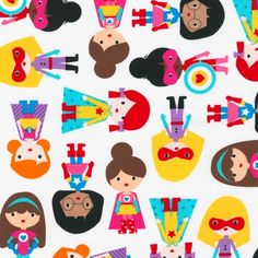 NEW Ann Kelle Super Kids Girl Heroes Primary por luckykaerufabric, $53.70