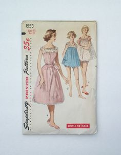 Vintage Simplicity uncut sewing pattern 1553 size 13 junior's shortie nightgown and panties pajamas PJs by ResourcefulGoods on Etsy