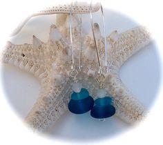 Jewelry earrings sea glass dangle seaglass blue by SeasideJewelry1