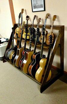Storage & Organization -Guitar Stand Storage Diy Guitar Stand, Guitar Display, Guitar Storage, Guitar Rack, Home Music Rooms, Music Studio Room, Recording Studio Home, Reclaimed Barn Wood, My New Room