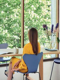 Fritz Hansen Serie 7 Stuhl 3107 New Colours von Arne Jacobsen, 1955 - Designermöbel von smow.de Fritz Hansen, Arne Jacobsen, Le Corbusier, S Curves, Contemporary Furniture, Midnight Blue, Slim, Furniture, Branding