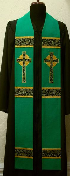 Green Clergy Stole For Ordinary Time -- Celtic Crosses