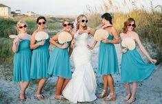 beach weddings - turquoise bridesmaids dresses