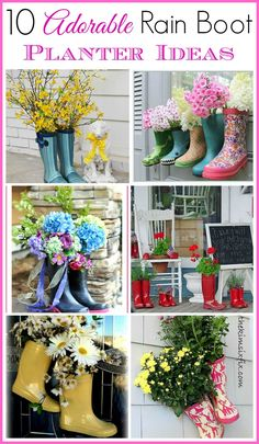 Cute spring decorating idea and a great idea for repurposing old or out grown rubber boots | 10 adorable rain boot planter ideas. Spring decorating ideas for outside, easy spring decorating ideas.