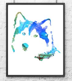 Dog wall art - blue husky dog watercolor painting - giclee art print  Hello, I am full time artist from Europe. This is a high quality giclee print