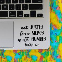 MICAH 6:8 vinyl decal || Bible Christian religious quote macbook laptop sticker