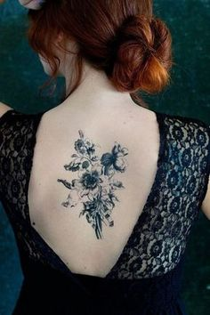 Bouquet Back Tattoo for Girls.
