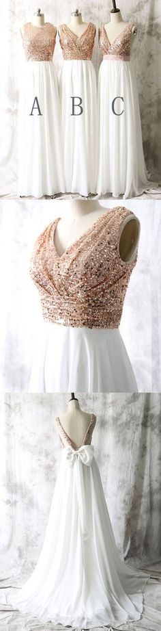 Mismatched Different Styles Sequin Top White Chiffon Sleeveless On Sal – SposaDesses