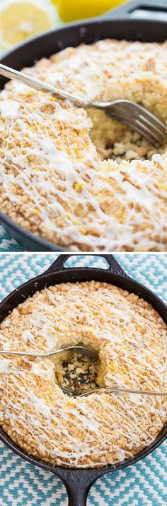 This quick and easy Streusel Lemon Cake is a no-fuss skillet cake that looks beautiful and tastes even better; the perfect Easter dessert recipe. Homemade Cake Recipes, Baking Recipes, Easy Recipes, Fun Desserts, Dessert Recipes, Cookie Dough To Eat, Lemon Cream Pies, Skillet Cake, Lemon Sugar Cookies