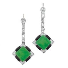 Pair of White Gold, Jade, Black Onyx and Diamond Pendant-Earrings   2 square-shaped jade ap. 13.8 mm., 34 diamonds ap. .65 ct., ap. 4.2 dwt. Art Deco or Art Deco style