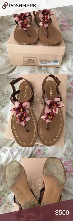 Authentic Prada sandals Authentic Prada Sandals. Worn very gently two times. The only sign of wear is on the bottom, as pictured. They come with original box and are in perfect condition. Size 38, which is an 8. They run true to size, but are adjustable around the ankle. No trades, open to offers. Prada Shoes Sandals