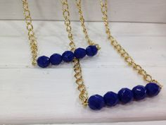 Blue Beaded Swing Necklace Stacked Bangles  Simple by kraftychix, $11.00