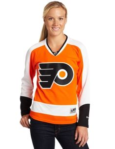 NHL Women's Philadelphia Flyers Reebok Premier Team Jersey - 7214W5W1Wrpfl (Orange, Medium) by Reebok. $40.00. Engineered to duplicate official NHL on-ice team jerseys, this awesome Women's Premier NHL Jersey from Reebok is a must for the true fan. Features sewn on tackle twill team logo on chest, team logo shoulder crests, NHL shield at neck, under arm inserts for ventilation, and durable polyester 2-way stretch body that is machine washable. Officially licensed by the NHL.