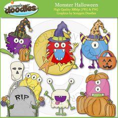 Scrappin Doodles Clip Art - Cute Graphics for Teacher Resources Halloween Party Themes, Halloween Clipart, Halloween Fun, Monster Classroom, Halloween Painting, Cute Clipart, Paper Piecing, Graphic Art, Doodles