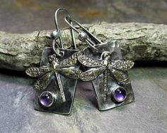 Dragonfly Pendant in Sterling Silver with Amethyst Amethyst