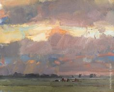 "Roos Schuring Painting ""Chasing the Golden Light just before heavy Rain"""
