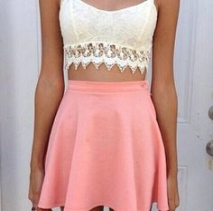 lace crop top with pink flare skirt