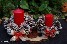 Porta candela natalizi adatti anche come centrotavola realizzati da me.