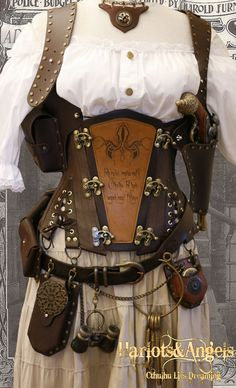 "Steampunk 'Cthulhu"" All Sizes Explorer Corset Brown leather and Brass -FAST SHIPPING"