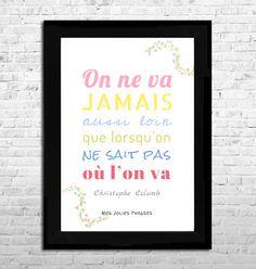 Affiche A4 : Citation sur le voyage (couleur) : Affiches, illustrations, posters par mes-jolies-phrases