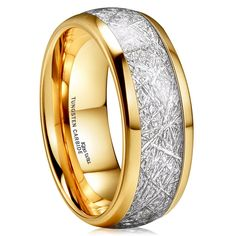- Unisex, Women's or Men's Tungsten Wedding Band. Gold Plated Ring with Inspired Meteorite. by ZZ - Seller Savings Direct - To buy again Meteorite Wedding Band, Tungsten Carbide Wedding Bands, Wedding Ring Bands, Wedding Jewelry, Matching Couple Rings, Tungsten Jewelry, Tungsten Rings, Gold Plated Rings, Silver Rings