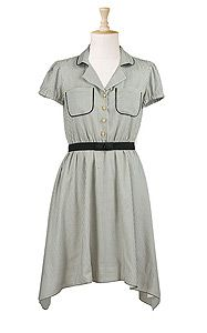Ozmapolitan vintage dress in cream, olive, and black. checker detailing