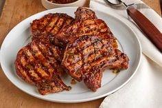 Grilled Pork Chop Recipe - My Food and Family Pork Chop Dishes, Pork Chop Recipes, Grilling Recipes, Brine For Pork, Grilled Pork Chops, Marinated Pork, Baked Pork, Cookout Food, Picnic Foods