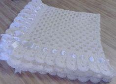 Crochet Baby Blanket Afghan Cream Christening por TheShimmeringRose, $40.00