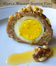 Maple Walnut Scotch Eggs on www.PopularPaleo.com  One of my favorite Paleo snacks -- ground pork, hard-boiled egg, pure maple syrup and walnuts. So good!