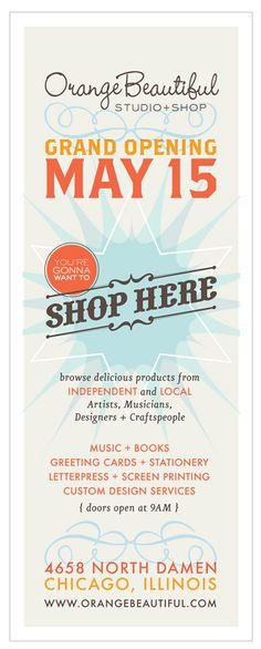 Orange Beautiful shop opening flyer