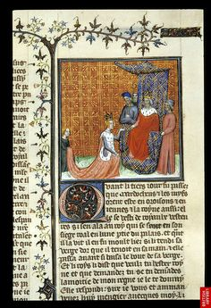 Harley 4381, f. 250, Esther - Detail of miniature of Esther pleading with king Ahasuerus. France (Paris)