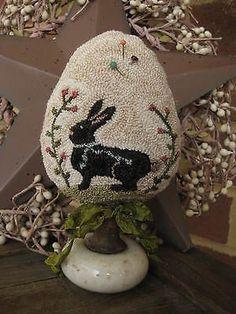 Primitive Punch Needle ~Easter Egg ~Folk Art~ Bunny Make-do on Antique Door Knob